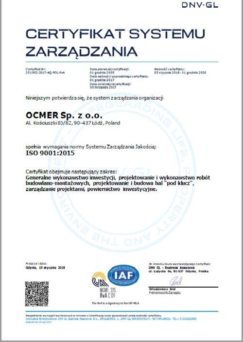 Certyfikat zarządzania jakością ISO 9001:2015 dla firmy Ocmer