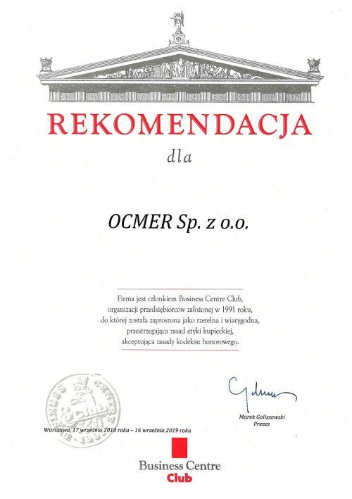 Rekomendacja Business Centre Club dla firmy Ocmer 2019
