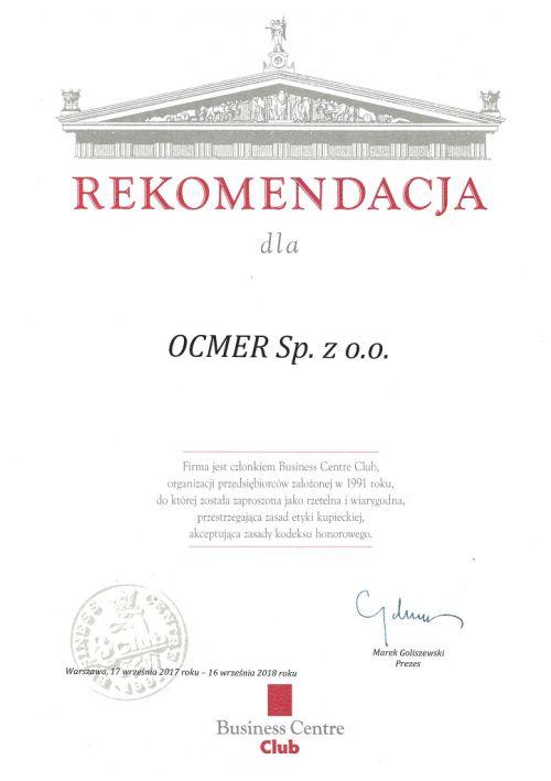 Rekomendacja Business Centre Club dla firmy Ocmer