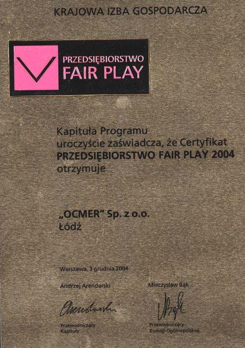 Przedsiębiorstwo Fair Play 2004 dla firmy Ocmer