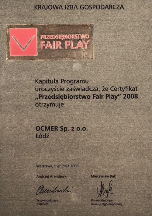 Przedsiębiorstwo Fair Play 2008 dla firmy Ocmer