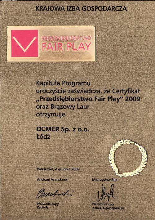 Przedsiębiorstwo Fair Play 2009 dla firmy Ocmer