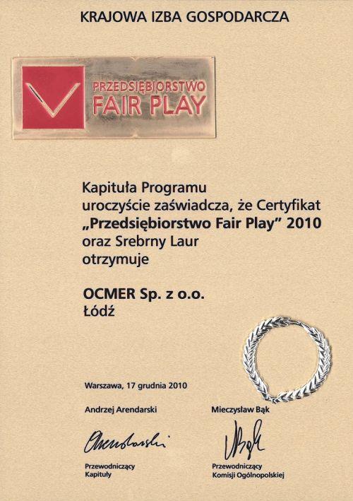 Przedsiębiorstwo Fair Play 2010 dla firmy Ocmer