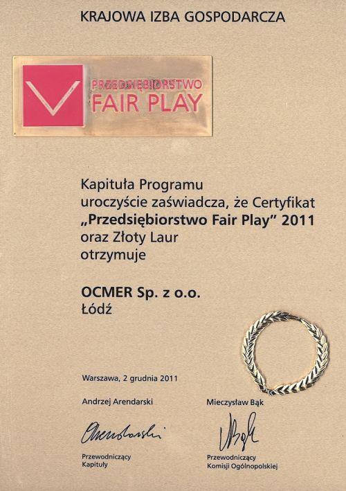 Przedsiębiorstwo Fair Play 2011 dla firmy Ocmer