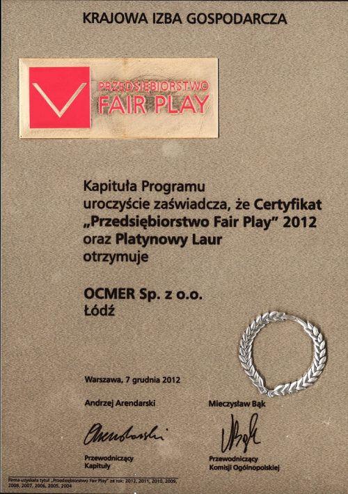 Przedsiębiorstwo Fair Play 2012 dla firmy Ocmer
