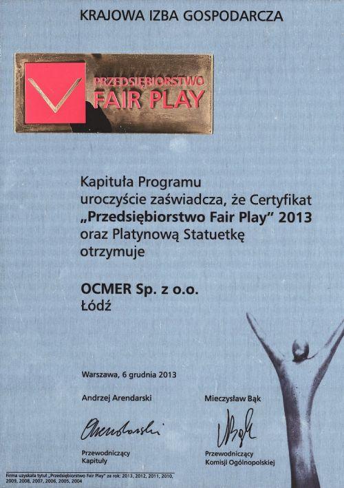 Przedsiębiorstwo Fair Play 2013 dla firmy Ocmer