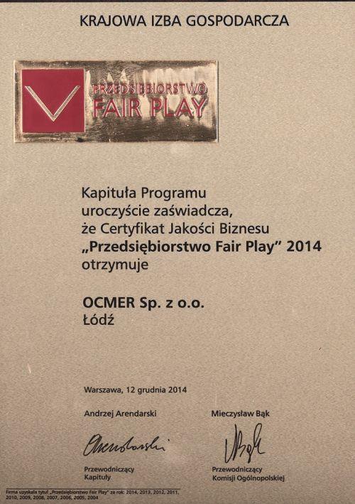 Przedsiębiorstwo Fair Play 2014 dla firmy Ocmer