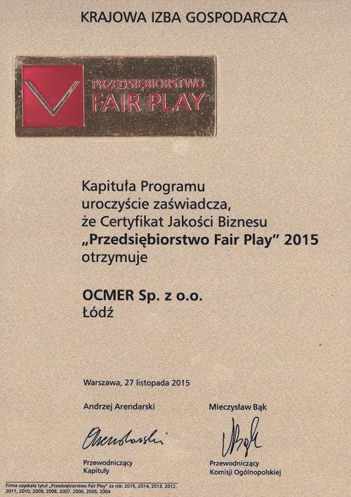 Przedsiębiorstwo Fair Play 2015 dla firmy Ocmer