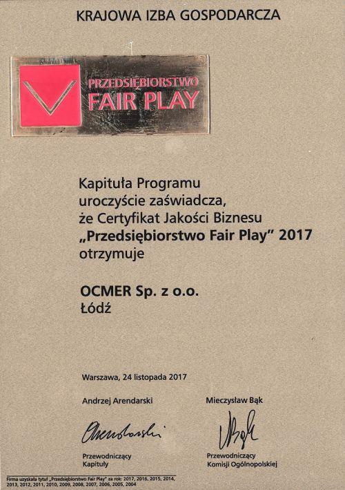 Przedsiębiorstwo Fair Play 2017 dla firmy Ocmer