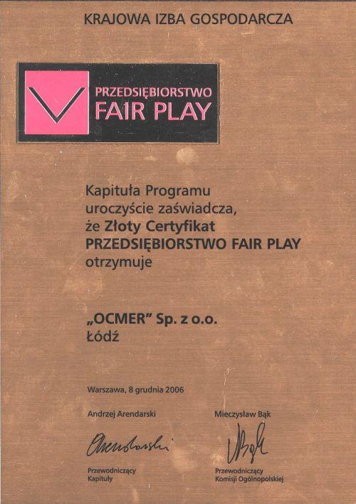 Złoty Certyfikat Fair Play dla firmy Ocmer
