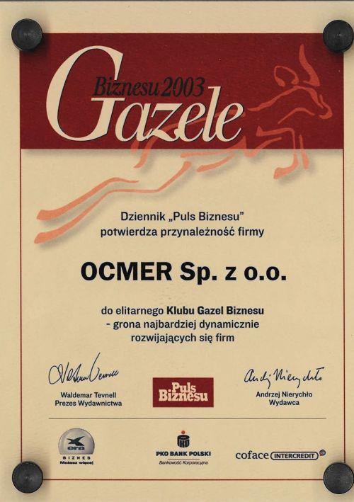 Gazele Biznesu 2003 dla firmy Ocmer