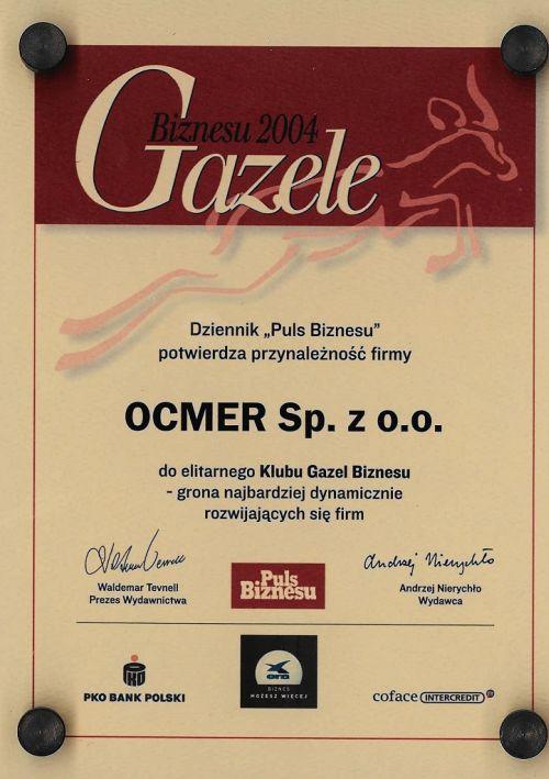 Gazele Biznesu 2004 dla firmy Ocmer
