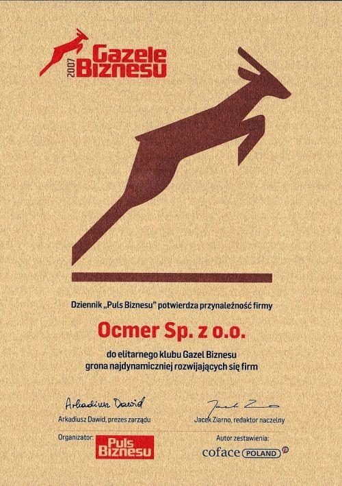 Gazele Biznesu 2007 dla firmy Ocmer
