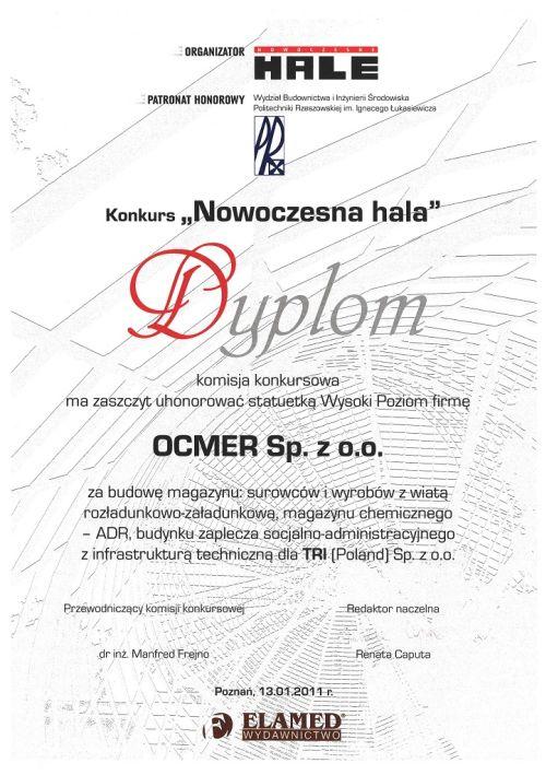 Wyróżnienie wkonkursie Nowoczesna Hala dla firmy Ocmer