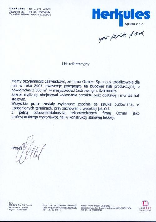 Hala produkcyjno-magazynowa - wielkopolskie - HERKULES Sp. z o.o.