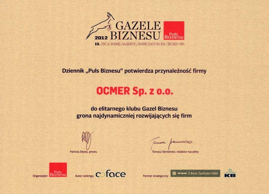 Gazele Biznesu 2012 dla firmy Ocmer