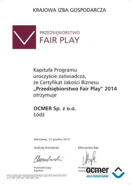 Certyfikat Fair Play 2014