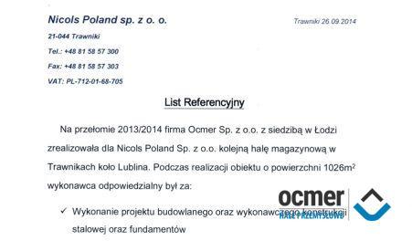 Czytaj więcej: NICOLS POLAND, Trawniki k/Lublina, hala magazynowa