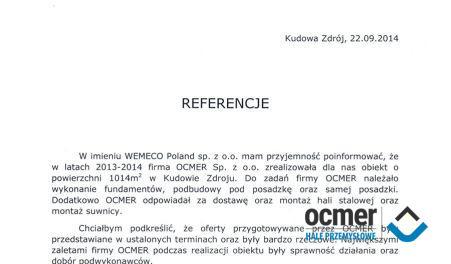 Czytaj więcej: Wemeco Sp. z o.o., Kudowa-Zdrój, hala produkcyjna