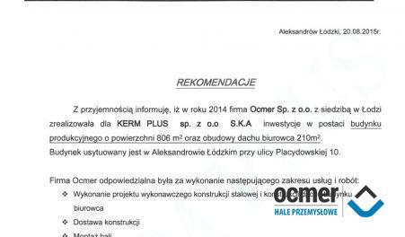 Czytaj więcej: KERM PLUS Sp. z o.o., Aleksandrów Łódzki, hala produkcyjno-magazynowa