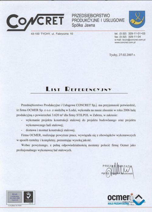 Hala produkcyjna - śląskie - CONCRET Sp. j.