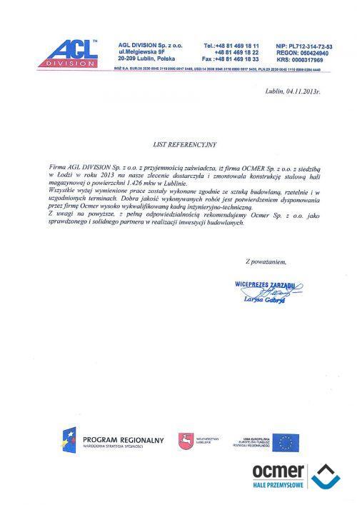 Hala magazynowa - lubelskie - AGL DIVISION
