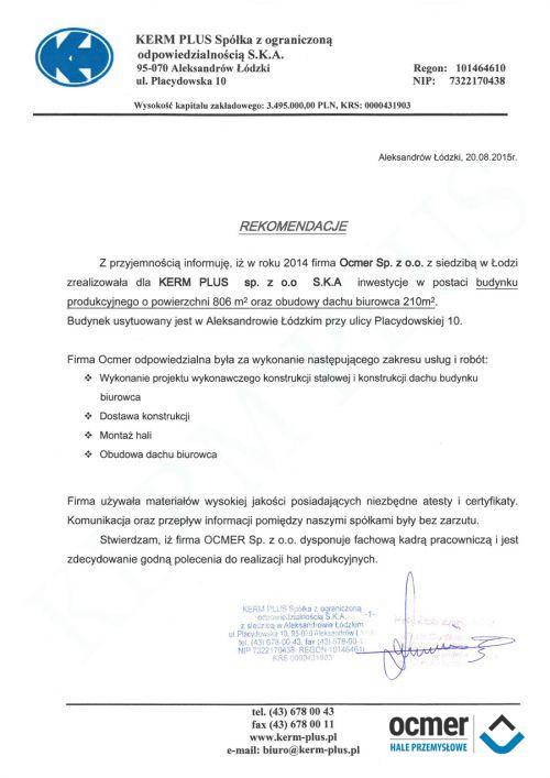 Hala produkcyjno-magazynowa - łódzkie -  KERM PLUS