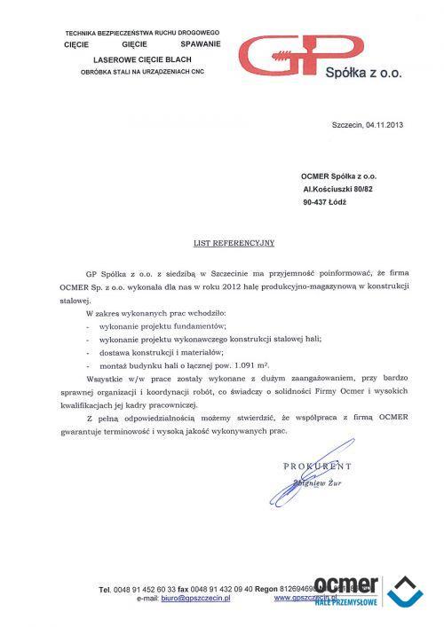 Hala produkcyjno-magazynowa - zachodniopomorskie - GP Sp. z o.o.