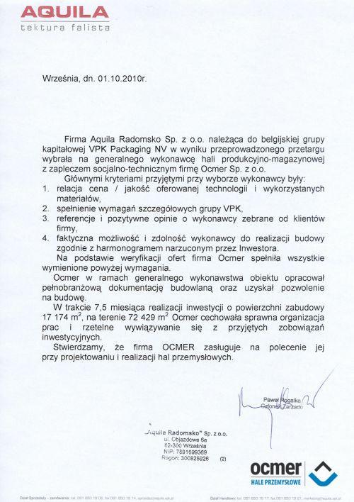 Hala produkcyjno-magazynowa - łódzkie - AQUILA Radomsko Sp. z o.o.