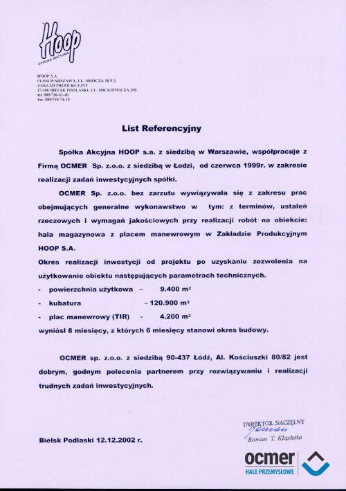 Hala produkcyjna - podlaskie - HOOP S.A.