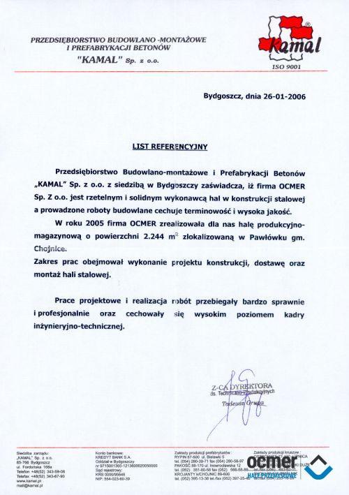 Hala produkcyjno-magazynowa - pomorskie - KAMAL Sp. z o.o.