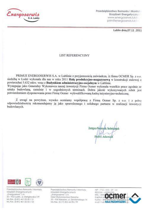 Hala produkcyjna - lubelskie - ENERGOSERWIS S.A